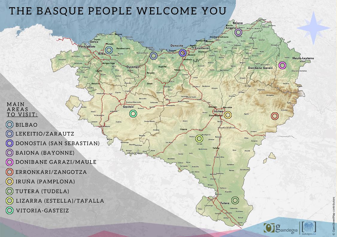 Euskal Herriko zonaldeen mapa turistikoa