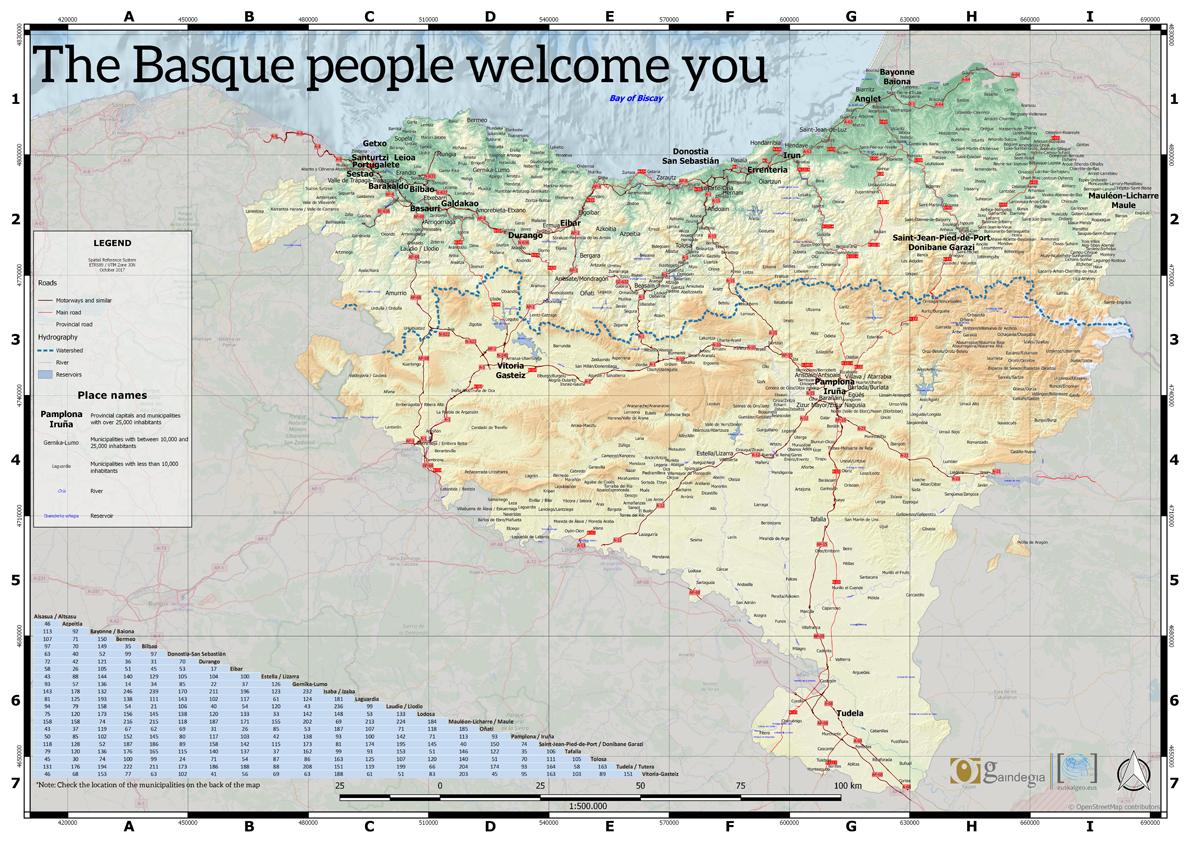 Euskal Herriko mapa turistikoa