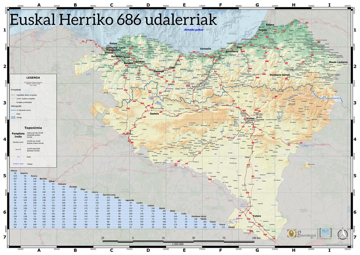 Euskal Herriko 686 herrien mapa turistikoa